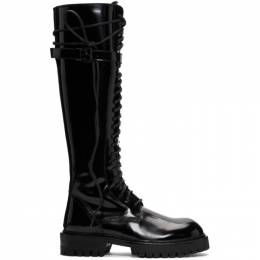 Ann Demeulemeester SSENSE Exclusive Black Patent Lace-Up Knee-High Boots 2014-2830-386-099