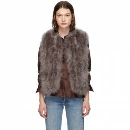 Yves Salomon Grey Feather Vest 20W9WAA10455PLUX
