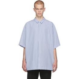 Juun.J Navy and White Pinstripe Short Sleeve Shirt JC9765P13R