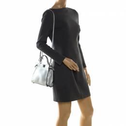 Fendi Silver Leather Selleria Mini Peekaboo Top Handle Bag 208546