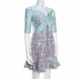 Mary Katrantzou Mint Blue Jacquard and Glitter De Beau Cocktail Dress M 208626