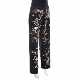 Kenzo Black Floral Embellished Cotton High Waist Straight Fit Trousers L 208006