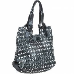 Alexander McQueen Black/White Houndstooth Leather Tote Bag 206059