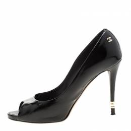 Chanel Black Patent Leather Peep Toe Pumps Size 40.5 208855