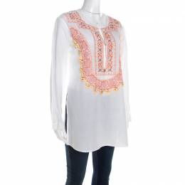 Roberto Cavalli White Cotton Beaded Embroidered Detail Long Sleeve Blouse S 207995