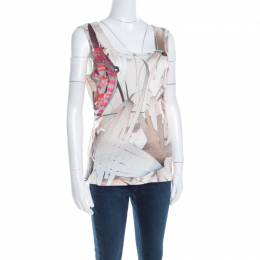 Escada Feather Brown Abstract Print Knit Sleeveless Socorro Blouse M 201042