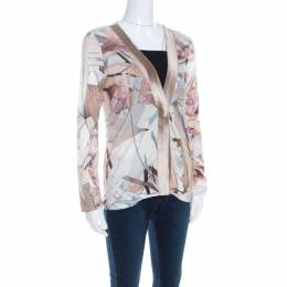 Escada Feather Brown Abstract Print Knit Button Front Soad Cardigan S 201040