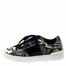 Valentino Green/Beige Floral Printed Leather Open Sneakers Size 39 200994