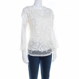 Escada Off White Embroidered Sheer Silk Organza Long Sleeve Nensa Blouse M 201069