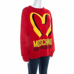 Moschino Couture Red Cashmere McDonald Logo Crew Neck Sweater M