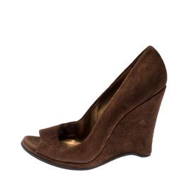 Miu Miu Brown Suede Peep Toe Wedges Pumps Size 39 208934