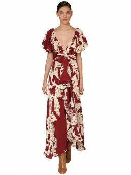 Printed Crepe De Chine Dress W/ Ruffles Johanna Ortiz 70IWZC012-U0FOR1JJQSAvIEVDUlU1
