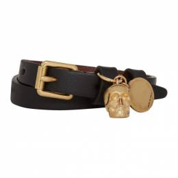 Alexander McQueen Black and Gold Double Wrap Skull Bracelet 551155ASD0O