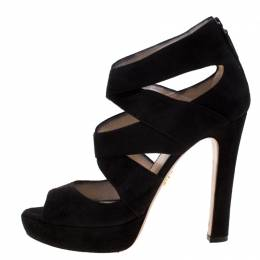 Prada Black Suede Cut Out Open Toe Platform Sandals Size 38 208728