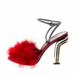 Marco De Vincenzo Red Marabou Feathers Embellished Ankle Strap Sandals Size 37