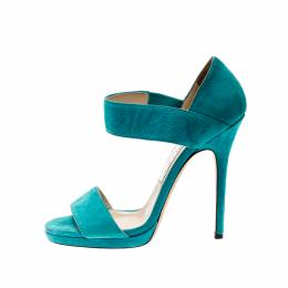 Jimmy Choo Blue Suede Open Toe Ankle Strap Sandals Size 38 209098