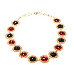 Dolce&Gabbana Multicolor Resin Filigree Beaded Gold Tone Necklace 209360