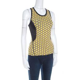 Fendi Canary Yellow Bag Bugs Eye Print Perforated Trim Tank Top S 208961