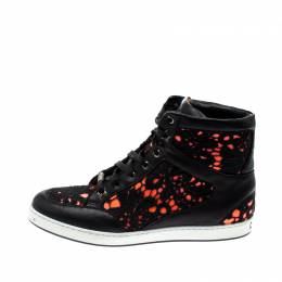 Jimmy Choo Black/Neon Leather and Lace Tokyo High Top Sneakers Size 37.5 208146