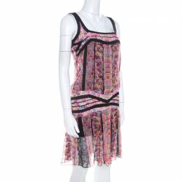 Roberto Cavalli Pink and Black Floral Sheer Silk Lace Trim Sleeveless Shift Dress S 208913