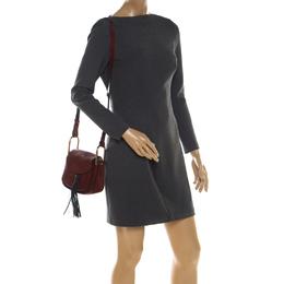 Chloe Maroon Leather Mini Hudson Shoulder Bag 208763
