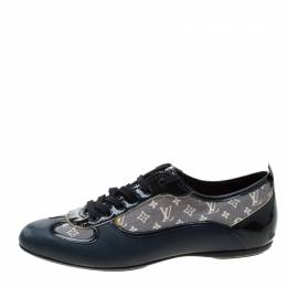 Louis Vuitton Blue Leather And Grey Monogram Canvas Lace Up Sneakers Size 38.5 208069