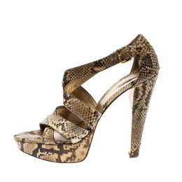 Miu Miu Beige Python Leather Criss Cross Platform Sandals Size 39 207217