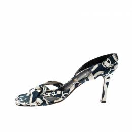 Chanel White/Blue Printed Canvas Cross Strap Slingback Sandals Size 39.5