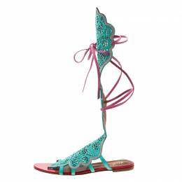 Malone Souliers Tricolor Suede And Leather Lazer Cut Tie Up Flat Sandals Size 40 208055