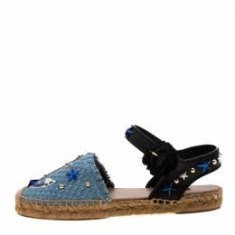 Dolce&Gabbana Blue Raffia And Black Leather Embellished Anchor Espadrille Sandals Size 36 208842