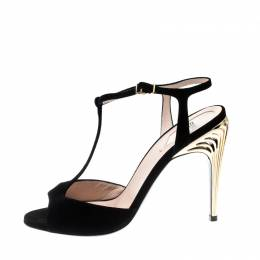 Fendi Black Suede Encaged T-Strap Metal Heel Sandals Size 38 208887