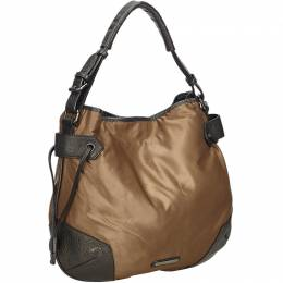 Burberry Brown Nylon and Leather Top Handle Bag