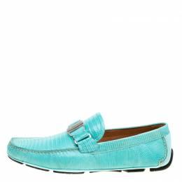 Salvatore Ferragamo Aqua Green Lizard Sardegna Loafers Size 44 166216
