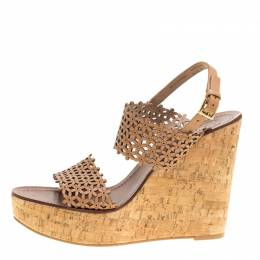 Tory Burch Beige Perforated Leather Daisy Cork Wedge Sandals Size 40.5 151364