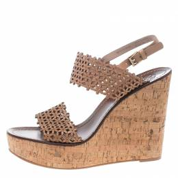 Tory Burch Beige Perforated Leather Daisy Cork Wedge Sandals Size 40.5 153866