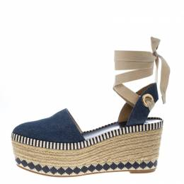 Tory Burch Blue Denim Dandy Ankle Wrap Espadrille Wedge Sandals Size 40
