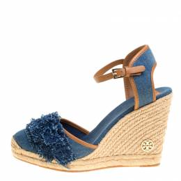 Tory Burch Blue Denim Shaw Espadrille Wedge Sandals Size 41