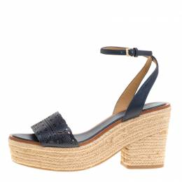 Tory Burch Navy Blue Laser Cut Leather Roselle Espadrille Platform Sandals Size 40