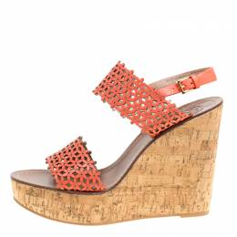 Tory Burch Coral Red Perforated Leather Daisy Cork Wedge Sandals Size 41 154417