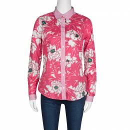 Etro Pink Floral Print Checked Collar and Cuff Detail Long Sleeve Button Front Shirt M 133297