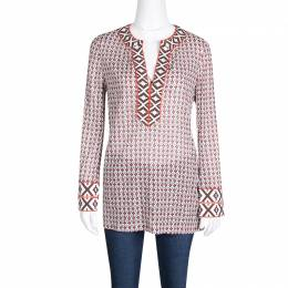 Tory Burch Printed Cotton Embroidered Tape Detail Brent Tunic S 138815
