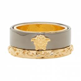 Versace Gold and Gunmetal Medusa Barocco Ring DG56674 DJMT