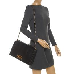 Fendi Black Leather Pequin Large Claudia Shoulder Bag 209165