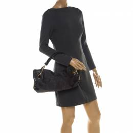 Gianfranco Ferre Black Nylon and Leather Buckle Shoulder Bag 208708