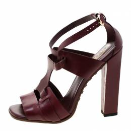 Tod's Burgundy Leather Cross Ankle Strap Block Heel Sandals Size 36.5 Tod's 208900