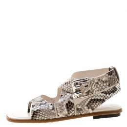 Tod's Two Tone Python Leather Cross Strap Flat Sandals Size 37.5 209328