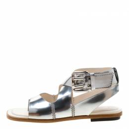 Tod's Metallic Silver Leather Ankle Strap Flat Sandals Size 37.5 299929