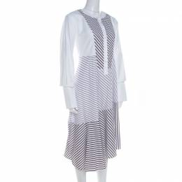 Carven White Multi Striped Cotton Paneled Asymmetric Hem Midi Dress L
