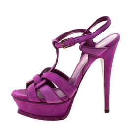 Saint Laurent Purple Suede Tribute Platform Sandals Size 36 208271