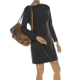 Sonia Rykiel Metallic Gold Leather Studded Shoulder Bag 208699